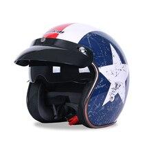 Casco de motocicleta Retro con cara abierta cascos de motocicleta Vintage, protección para Moto, scooter, novedad de 3/4