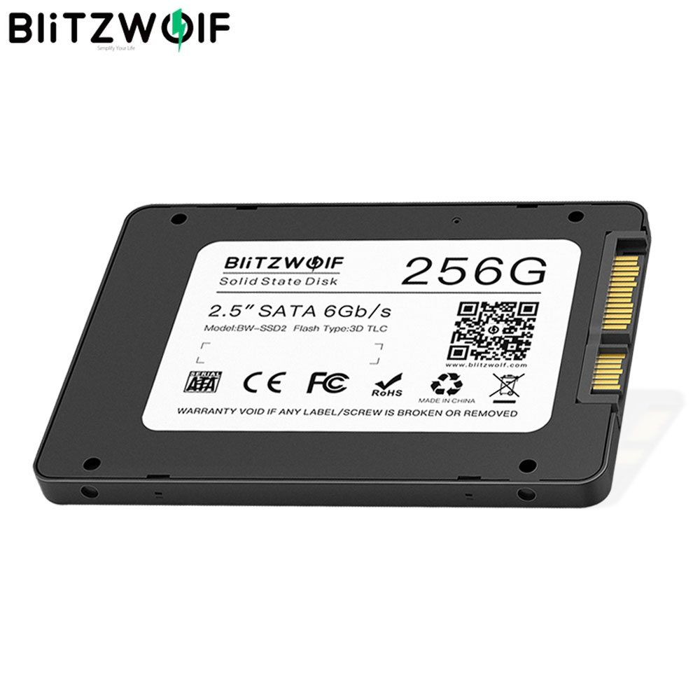 """BlitzWolf BW SSD2 256GB 2.5"""" SATA3 6Gbps R/W at 520/430 MB/ s Solid State Disk TLC Chip Internal Hard Drive for SATA PC & Laptop
