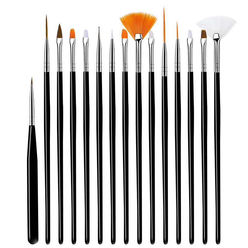 15 Pcs Professional Nail Art Brush Set Line Drawing Painting Pen UV Gel Polish Designs Acrylic Perfect Manicure Books On Tools