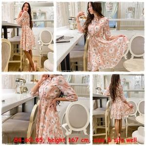 Image 3 - Женское винтажное платье с цветочным принтом Simplee, элегантное офисное платье с высокой талией и рукавом до локтя, шикарные вечерние платья для весны и лета
