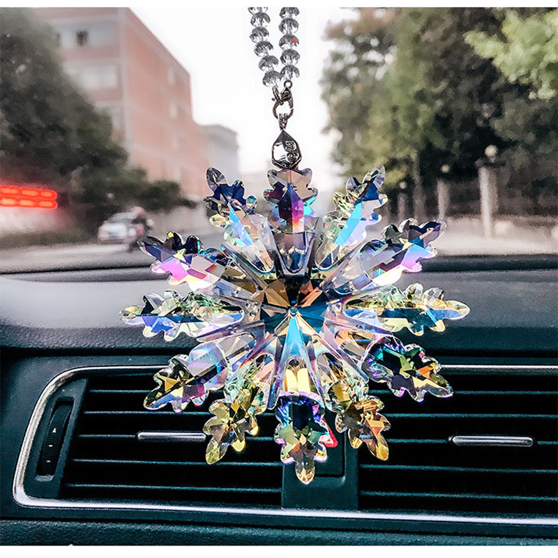 Top Quality 12pcs/lot K9 Crystal Snowflake Chandelier Hanging Suncatcher Crystal Christmas Ornaments Home & Car Decoration