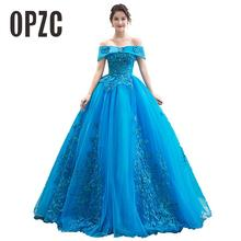 Quinceanera-Dresses Blue Lace Appliques A-Line with Sweet 16-Dresses/vestidos-De-15-Years