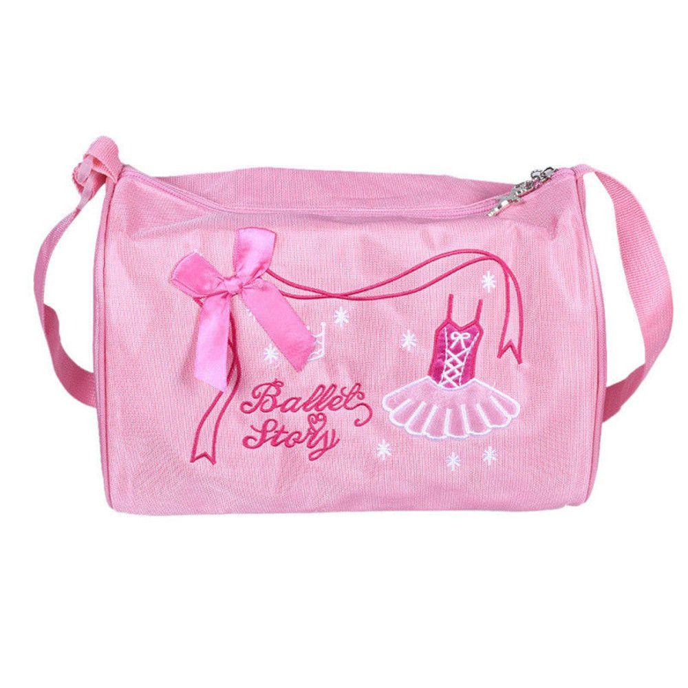 Ballet Duffle Bag Gym Shoulder Bag Dance Training Tote Bowknot Dress Embroidery  Large Capacity Travel Pink Casual Nylon Tote