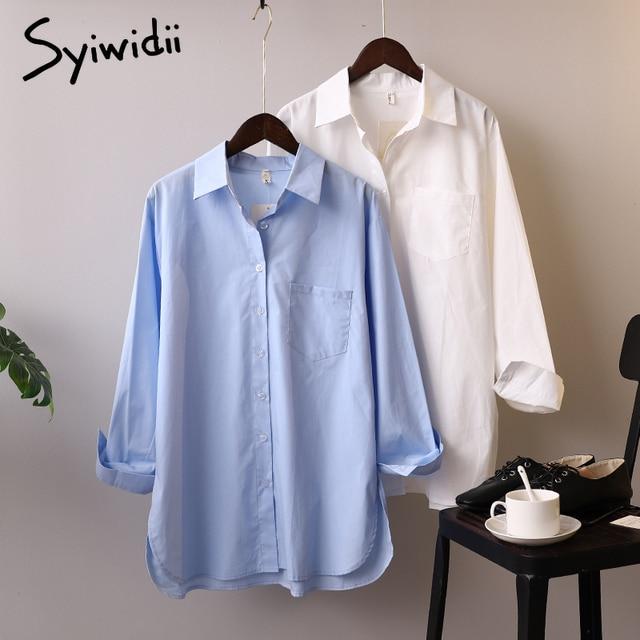 Syiwidii قمصان طويلة الأكمام  من القطن الأبيض الأزرق 1