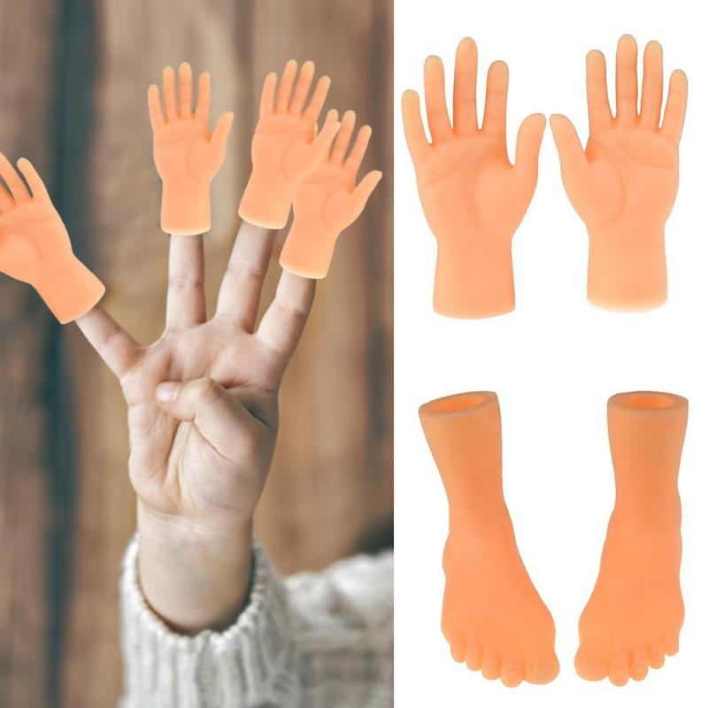 Creative PVC Left Right Hands Feet Finger Puppet Toy Child Baby Model Doll Funny Novelty Toys Good Halloween Tools For Kids Gift