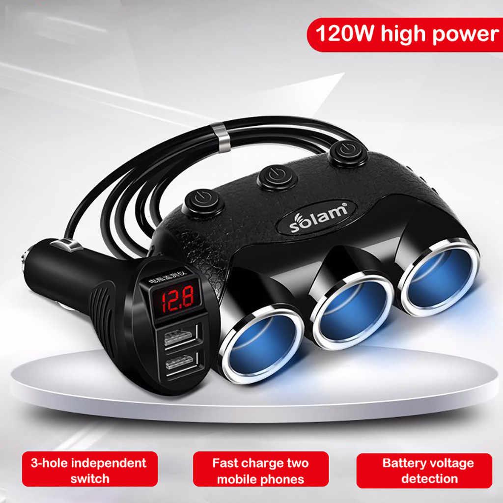 CARPRIE автомобильное зарядное устройство с переключателем многофункциональное зарядное устройство для мобильного телефона 3 отверстия 2 USB порта 3 пути светодиодная розетка для автомобильного прикуривателя