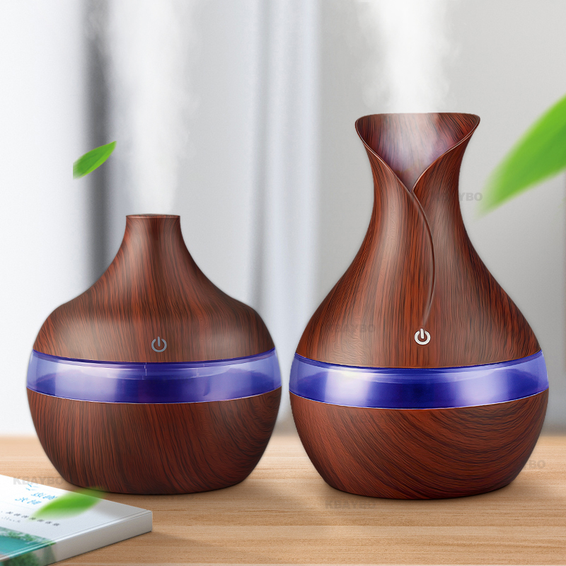 300ml  USB Ultrasonic Aromatherapy Diffuser Wood Grain Ultrasonic Cool Mist Humidifier For Office Home Bedroom Living Room