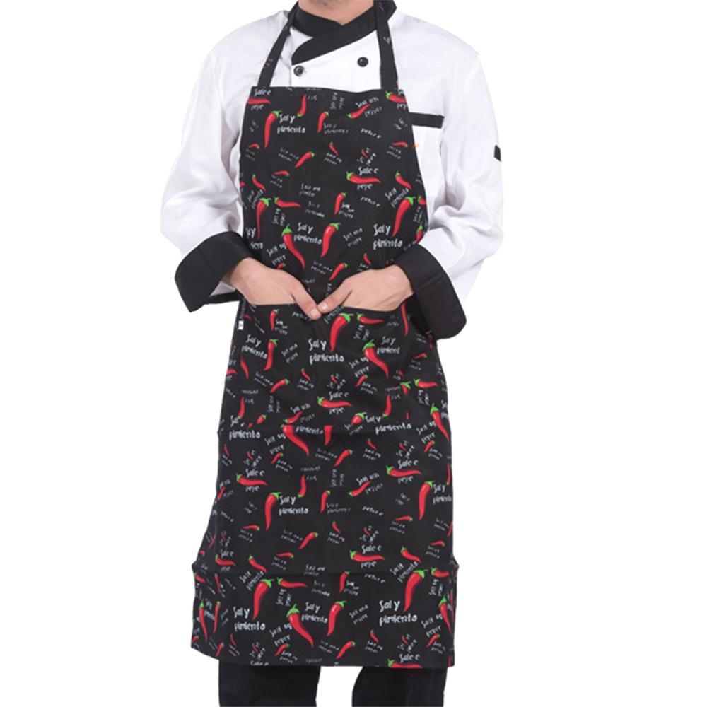Adjustable Half length Adult Apron Striped Hotel Restaurant Chef Waiter Apron Kitchen Cook Apron With 2 Pockets #BO