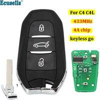 Keyless-go 3 botões inteligente remoto chave fob 433 mhz 4a chip para citroen c4 c4l c3 com chave de emergência hu83