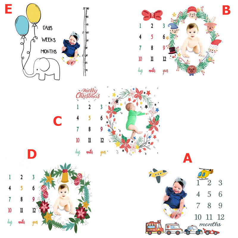 Christmas Baby Monthly Milestone Blanket Newborn Hundred Days Photography Props  DIY Cartoon Children Photo Background Cloth