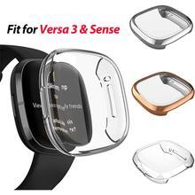 Ultra cienki ekran futerał ochronny dla Fitbit Versa 3 Sense, 3 Pack TPU pełna obudowa ochronna pokrywa dla Fitbit Sense Smartwatch