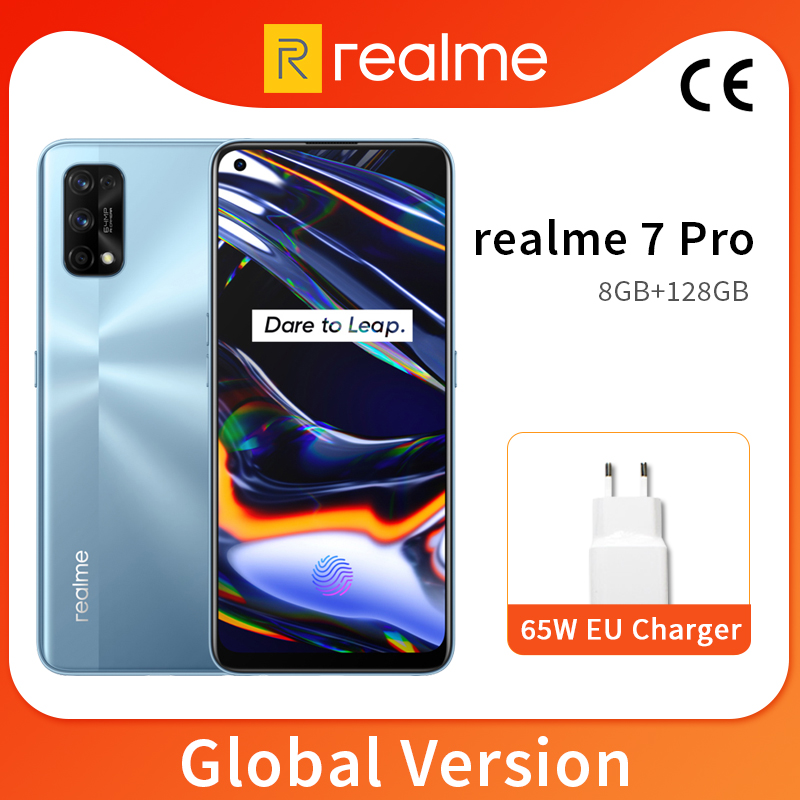 Realme 7 Pro 8 ГБ 128 мобильный телефон 6,4 ''amoled полноэкранный Snapdragon 720 Octa Core 64-мегапиксельная четырехъядерная камера 4500 мА/ч, 65W зарядное устройство