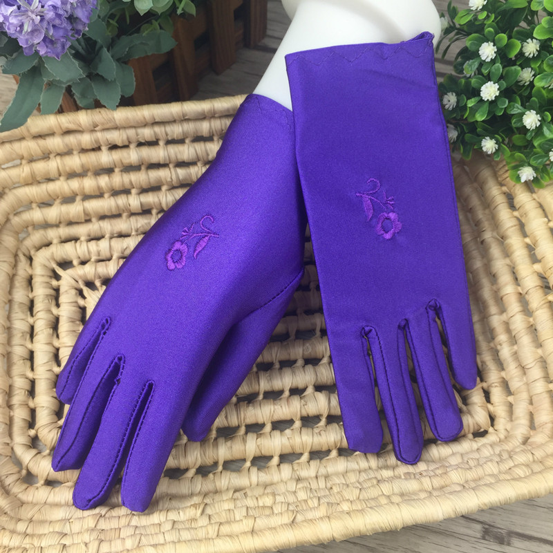 Spring Summer Women's Gloves Ladies Solid Color Embroidered Mittens Girl High Stretch Gloves Short Thin Spandex Gloves/8 Colors