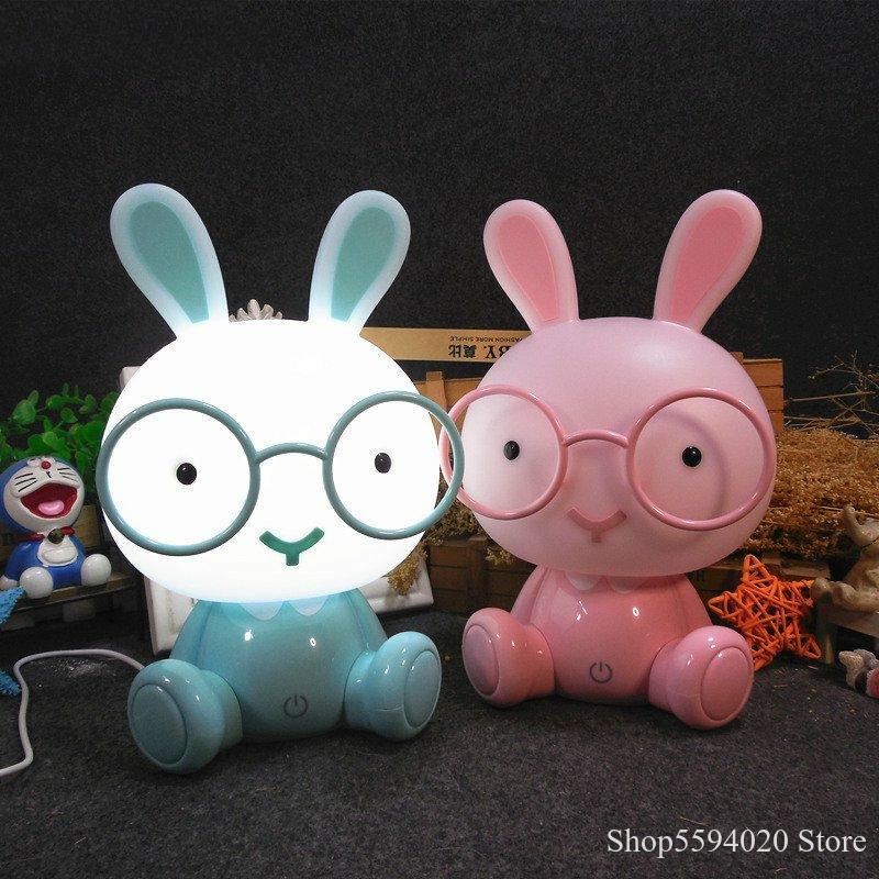 Dessin animé lapin lampe mignon Animal Led enfants bébé enfants chambre USB Led veilleuses cadeau de noël chevet décor maison nuit lampe
