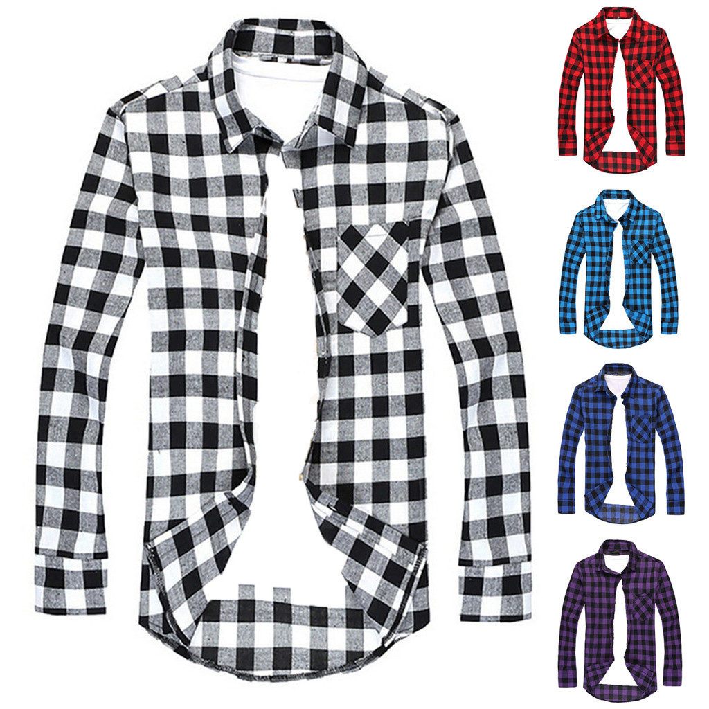 Black And Red Plaid Shirt Men Shirts New Summer Fashion Chemise Homme Mens Checkered Shirts Short Sleeve Shirt Men Blouse@G2