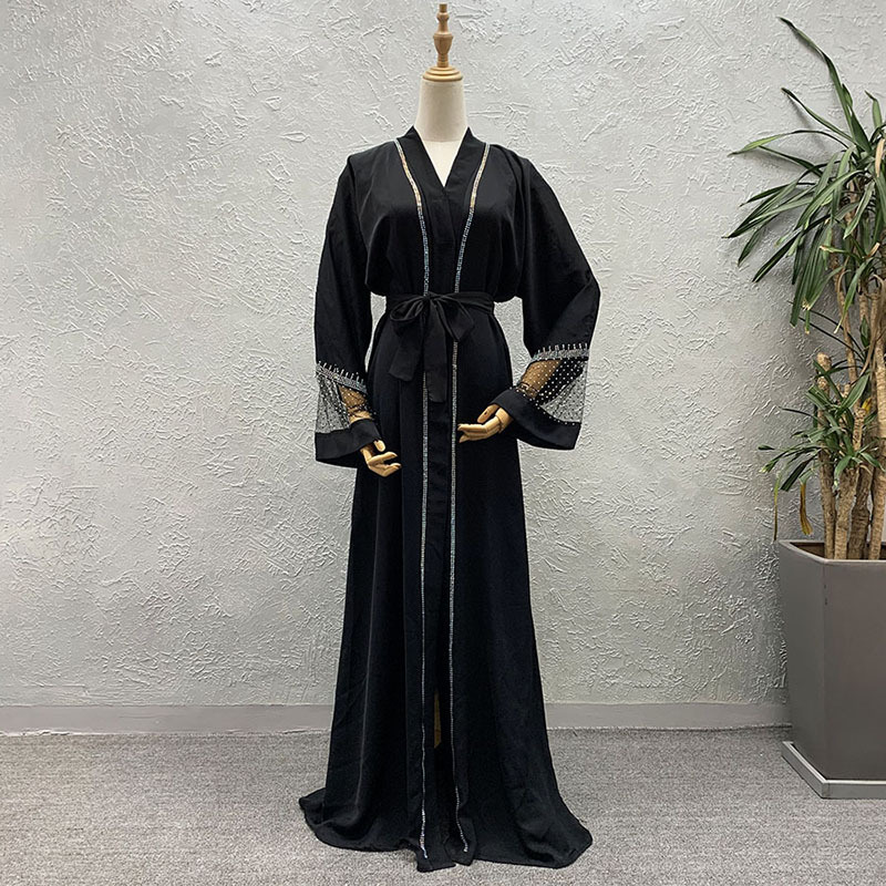 New Style African Women's Dashiki Abaya Fashion Cardigan Robe Fashionable Mesh Patchwork Ironed Loose Bat Long Sleeves Dress