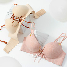 Drawstring adjustable underwear ladies bra gathered without rims no traces received milk anti-sagging sexy ultra-thin small