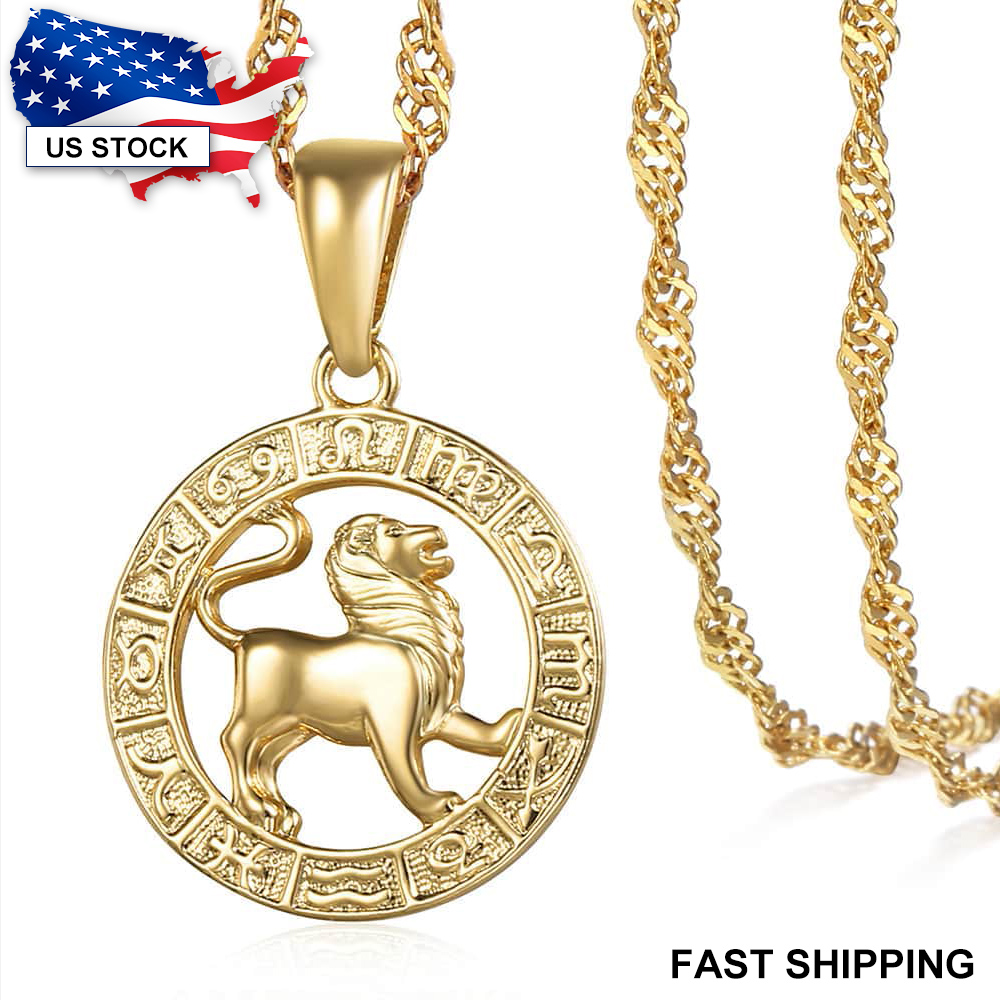 12 Zodiac Sign Horoscope Pendant Necklaces for Mens Womens Gold Aries Leo 12 Constellations Dropshipping Necklace Jewelry GPM24A(China)
