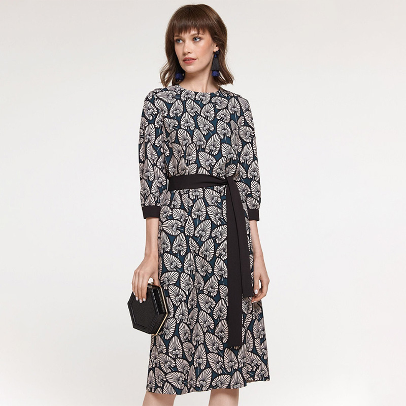 Women Vintage Sashes Printed A-line Party Dress Three Quarter Sleeve O Neck Elegant Casual Dress 2020 Spring New Fashion Dress