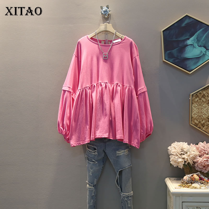XITAO Elegant Casual Fashion Pleated T Shirt Women Clothes 2020 Fashion Plus Size Match All Pullover Full Sleeve Tee Top DMY2867