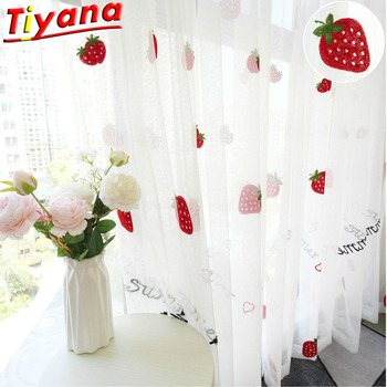 Bonito bordado de fresa cortinas para sala de estar dibujos animados de fresa cortinas para ventana para habitación de chico chica tul 416*30