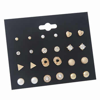 12 Pair/lot Fashion Geometric Square Crystal Stud Earrings for Women Man Gold/Silver Heart Earings Set Pusheen Creole Aros - DISCOUNT ITEM  34% OFF Jewelry & Accessories