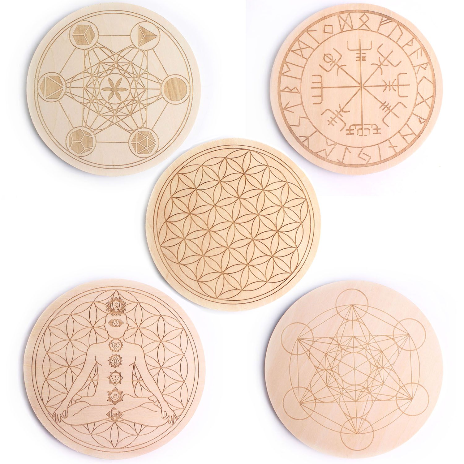 1PC Chakra Flower of life Symbol Natural 7 Kinds Round Wood Board Circles Carved Coaster For Crystal Stone Set DIY Decor Healing|Stones| - AliExpress