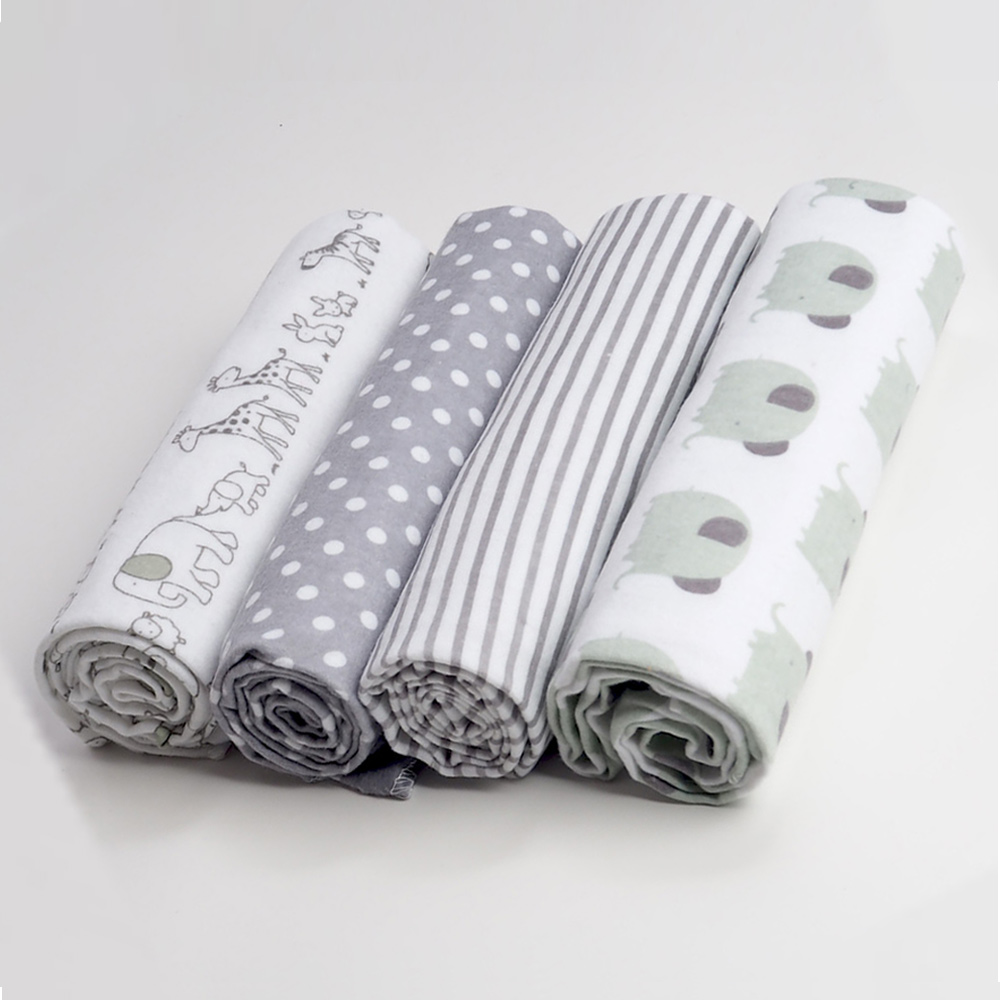 4Pcs/Lot Baby Blanket Kids Diapers Muslin Swaddle Newborn 100% Cotton Flannel Diapers For Newborns Wrap Kid Photography Blankets