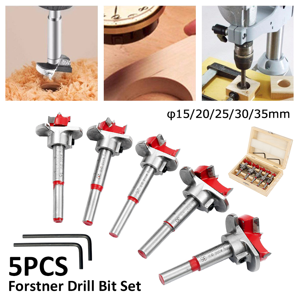 5pcs 15-35mm Forstner Drill Bit Adjustable Wood Centering Hole Saw Cutter Woodworking Tools Tipped Drilling Tool Core Drill Bit