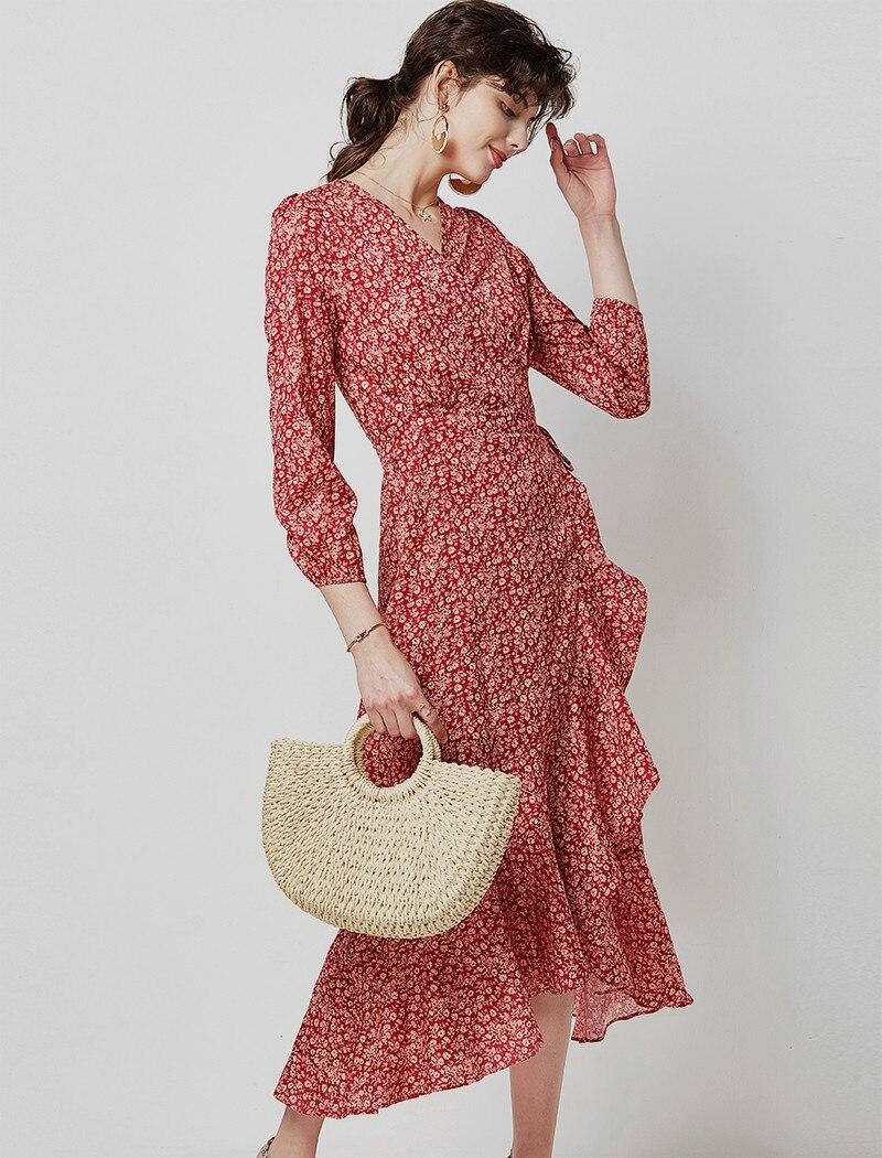 19 Autumn Casual V Neck Ruffled Long Dresses Women Elegant Lantern Sleeve Floral Print Maxi Dress Boho Split Wrap Tunic Dress 9