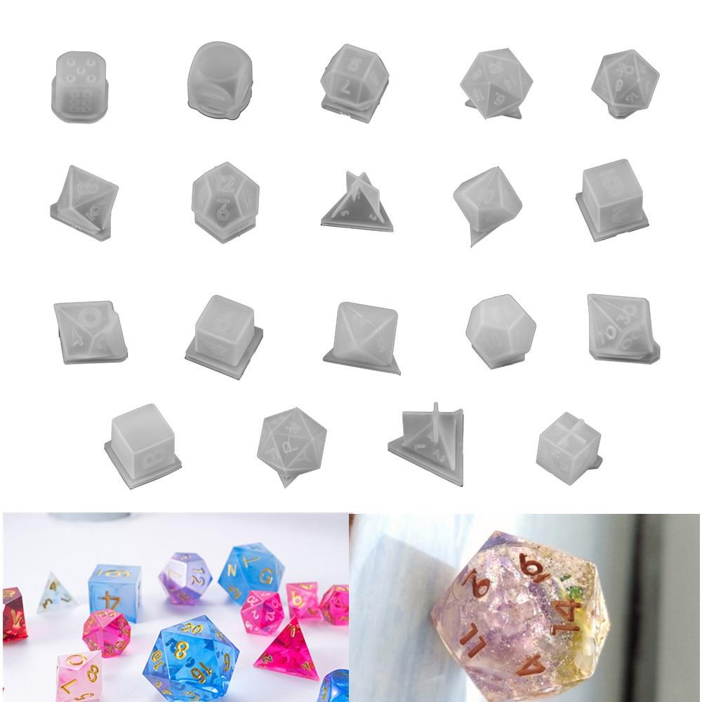 19 Стиль кости Форма силиконовые формы кубоид игральная кость и пресс-формы для полимерная декоративная DIY Carfts УФ-отверждаемая эпоксидная см...