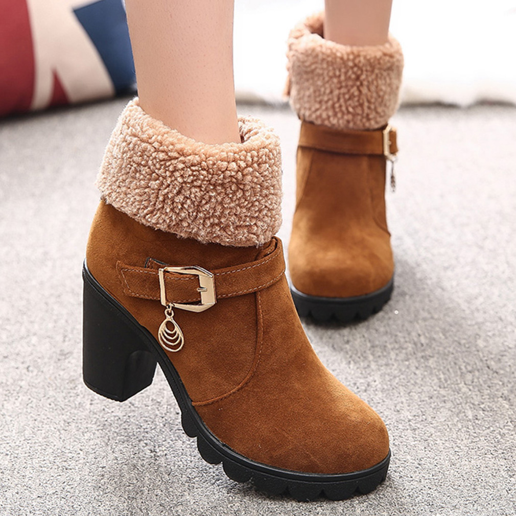 2019 Winter High Heel Boots Platform Warm Plush Square Heels Winter Shoes Women's Boots Ladies Fashion Brand Ankle Snow Boots image