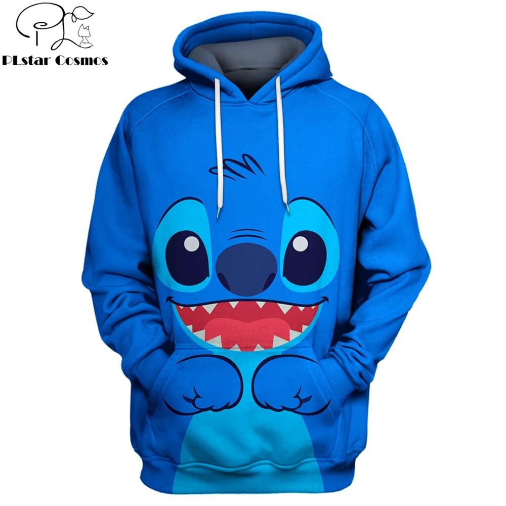 2019 New Fashion Men Hoodies Blue Stich Cartoon 3D Printed Cute Hoodie Unisex Casual Streetwear Sudadera Hombre