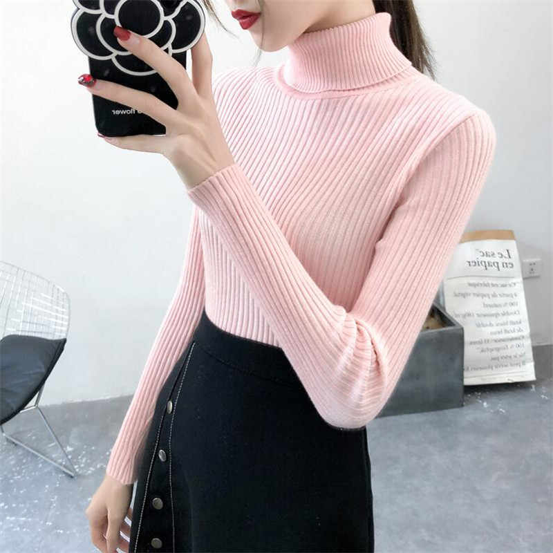 2019 Women Sweater casual solid turtleneck female pullover full sleeve warm soft spring autumn winter knitted cotton