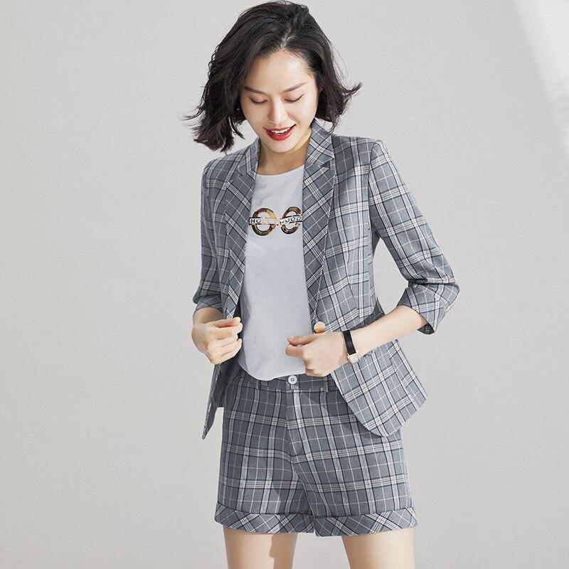 Pink Female Office Work Women's Formal Short Pant Suits Business Lady Uniform 2 Piece Set Blazer Trouser Jacket Suits Plus Size