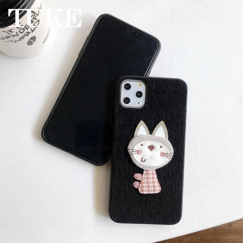 Kış sıcak peluş xiaomi için telefon kılıfı kırmızı mi 7 için sevimli kedi kürklü kabarık kürk kapak için Xiao mi mi Y3 kılıfları