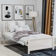 Белая деревянная платформа кровать с изголовьем подножка домашняя