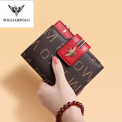 Williampolo leather wallet women's short multi card holder anti-theft card bag simple large capacity fashion design buckle purse