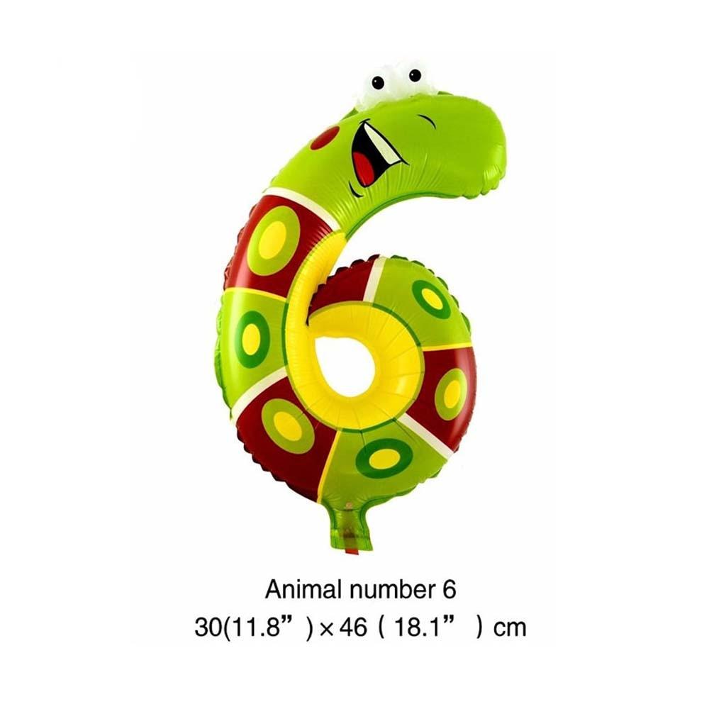 6 дюймов животные мультфильм номер фольги Воздушные шары вечерние шляпы цифры воздушные шарики для день рождения вечерние игрушки для детей - Цвет: WJ106-6