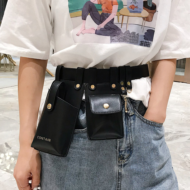 2020 Leather Belt Bags For Women Fashionable Shoulder Messenger Chest Bag PU Leather Fanny Packs Mobile Phone Key Waist Bag