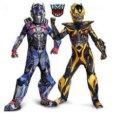 Crianças meninos cosplay filme músculo optimus prime trajes meninos bumblebee superhero corpo ternos para carnaval trajes de halloween festa