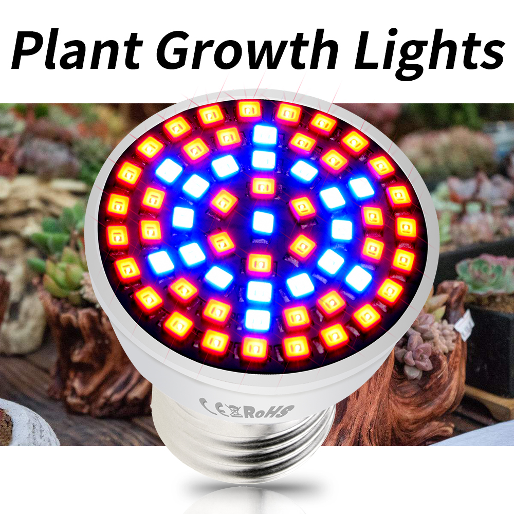 E27 Plant Light Full Spectrum LED Grow Bulb E14 LED Phyto Lamp GU10 Growing LED Hydroponic Tent Light MR16 48 60 80leds 220V B22