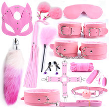Sex Fox Tail Metal Anal Plug Mask Toys BDSM Bondage Kits Erotic Handcuffs Collar Gag For Woman Adult Games