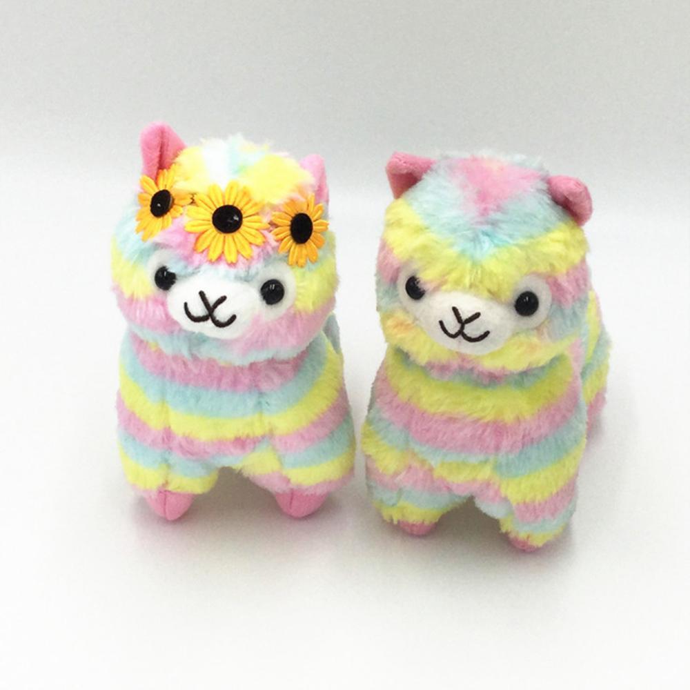 Hot 20cm Soft Cotton Rainbow Alpaca Filled Plush Toy 2 Style Doll Plush Animal Toy Children Birthday Christmas Gift WJ090