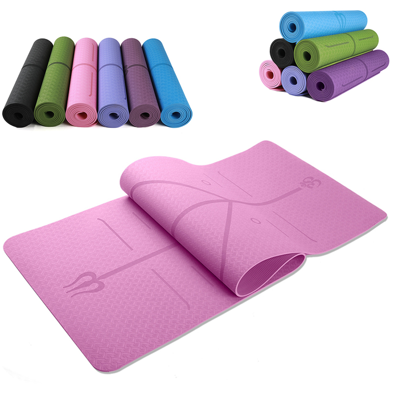 183cm*61cm TPE Yoga Mats With Body Position Line Non Slip Soft Environmental Yoga Mat For Beginner Fitness Pilates Body Building