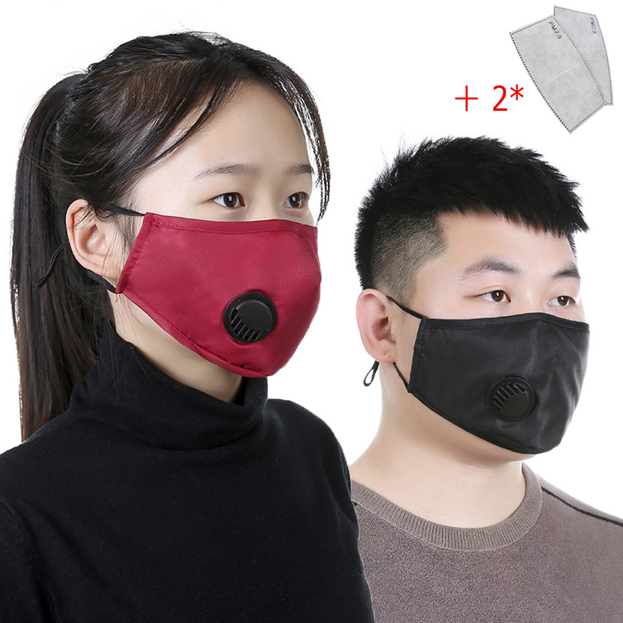 Reusable Washable Adult 3D Face Mouth Mask Anti Dust Bacteria Virus Breathable Valved Respirator With Activated Carbon Filter