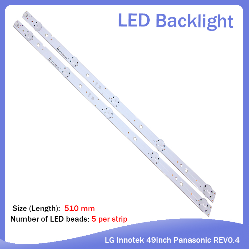 16pcs LED Backlight Strip 5leds For LG Innotek 49inch Panasonic REV0.4 TX-49DS500B TX-49DS500E TZLP151KHAB6 TZLP151KHAB1