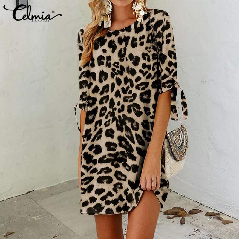 Celmia Plus Size Summer Dress 2020 Women Leopard Print Beach Vestidos Robe Half Sleeve Casual Loose Mini Party Bohemian Sundress