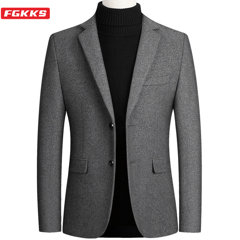 FGKKS Quality Brand Men Fashion Blazers Men's Slim Fit Casual Blazer Jackets Retro Luxurious Long Sleeve Suit Male