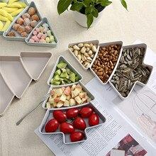 В форме рождественской ёлки сладости семена орехов сухие фрукты пластиковые тарелки миски поднос для завтрака товары для дома, кухни@ D